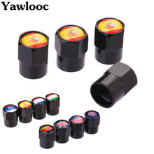 4Pcs/Lot Flag Australia Russia Spain Britain Italy France USA Germany Car Motorcycle Wheel Tire Valve Stem Air Caps Styling