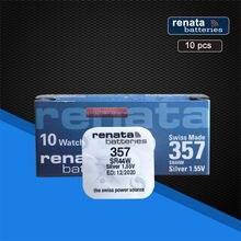 Renata – batterie de montre 100% originale, nouveau, 357, longue durée, SR44W SR44 LR44 A76 L1154 SR44 357A AG13, fabrication suisse, 10 paquets