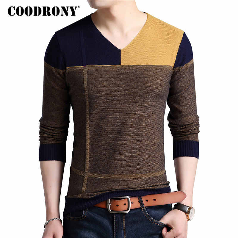 COODRONY Sweater Men Autumn Winter Thick Warm Mens Sweaters Casual Patchwork V-Neck Pullover Men Wool Knitwear Jersey Hombre 121