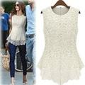 Elegant Women Crochet Lace Sleeveless Blouse Shirt Female Clothing Plus Size Tops Blusas Size XXXL XXXXL XXXXXL 20 Colours