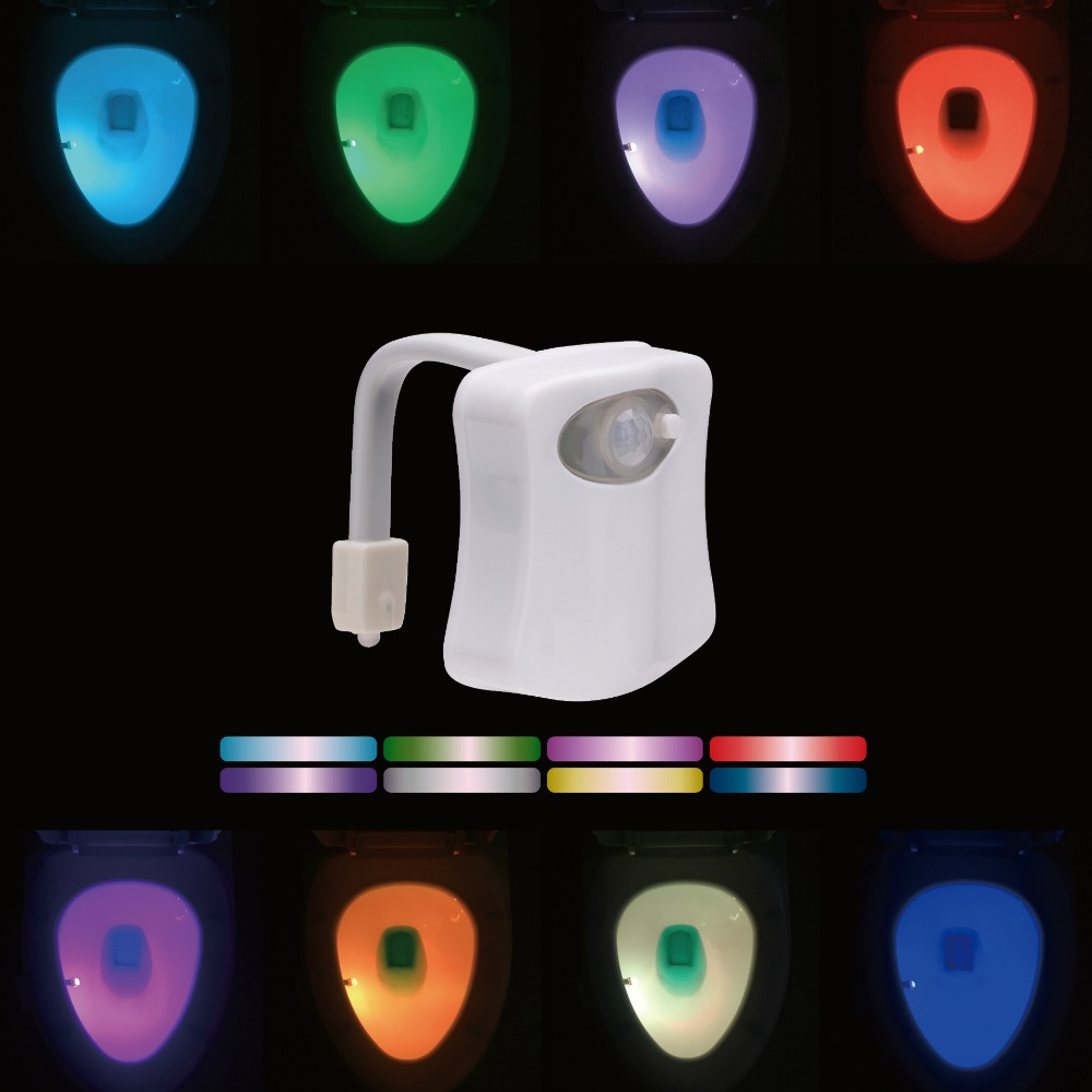 8 Colors LED Toilet Light Smart PIR Motion Sensor Light Control Night Light WC Toilet Bowl Seat Lamp For Children Kids Elderly