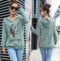 Printed letters plus size long-sleeved hooded T-shirt women top jacket coat sweatshirt hoodies green/khaki F443
