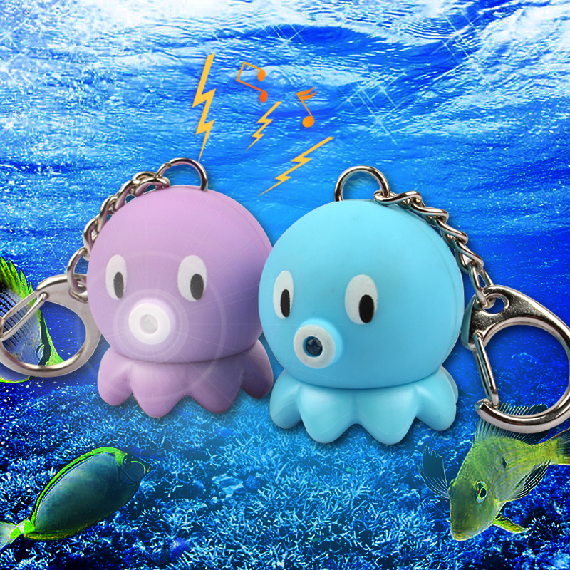 Sea Animal Octopus Action Figure Toys Keychain Kawaii LED Light Sound Keychains Kids Birthday Christmas Gifts