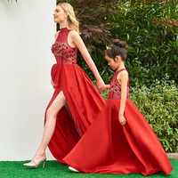 Girls Princess Dress Mother Daughter Wedding Dresses Red Color Satin Lace Flower Clothes Ball Gown Family Matching Outfits