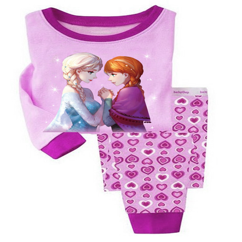 Girls Clothing Sets Cartoon Elsa T-Shirts+Pants 2Pcs Girls Clothes Sets Autumn Kids Clothes Children Outfit Robe For 2-7 Years cotton cartoon t shirts