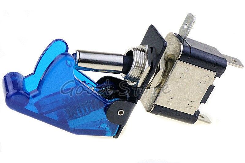 Авто автомобиль Лодка Грузовик с подсветкой светодиодный тумблер с безопасности самолета Флип-крышка охранника Красный Синий Зеленый Желтый Белый 12V20A - Цвет: transparent blue