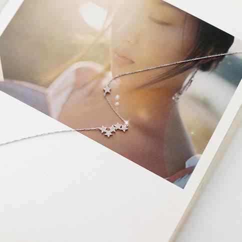 925 пробы Серебряный Кристалл ожерелья со звездами и Подвеска себе цепочки ожерелья для женщин