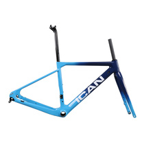 ICAN BIKES New flat mount gravel Disc brake carbon bike frame Full internal cable size 49/52/54/56/58cm fit 142*12mm axle ican bikes carbon fat bike frame 197mm rear axle carbon snow bike fat frame carbon toray t700 carbon frame sn01