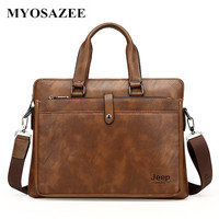 European And American Brand Fashion Computer Handbags Soft Split Leather Briefcase Leather Laptop Bag