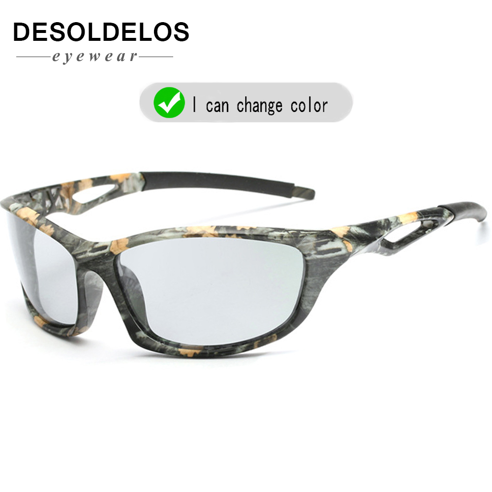 Photochromic Sunglasses Polarized Men Sport Sun Glasses Camo Frame Eyewear UV400 Polaroid Oculos De Sol 2019