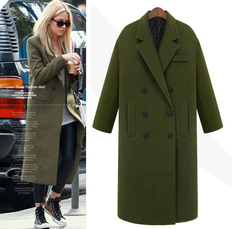 Popular Green Wool Long Coat-Buy Cheap Green Wool Long Coat lots ...
