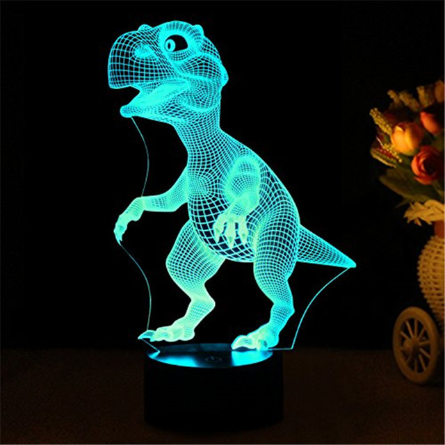 3D Night Lights for Children, Kids Night Lamp, Dinosaur Toys for Boys, 7 LED Colors Changing Lighting, Touch Control USB Charge