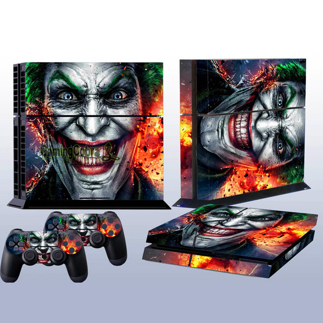 eXtremeRate Custom Jo'ke'r Protective Covers Skin Sticker for PS4 Console with 2 pcs