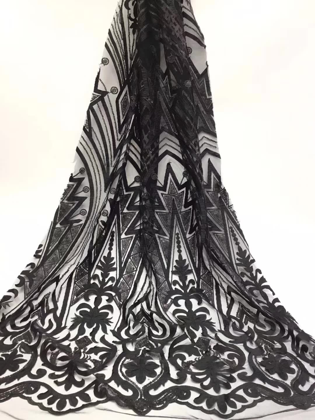 African Lace Fabric 2019 Embroidered Nigerian Laces Fabric Bridal High Quality French Tulle Lace Fabric For Women blackAfrican Lace Fabric 2019 Embroidered Nigerian Laces Fabric Bridal High Quality French Tulle Lace Fabric For Women black