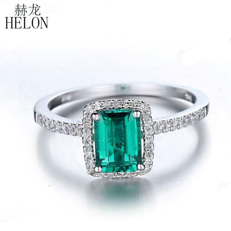 HÉLÔN 7x5mm Émeraude 1.1ct Traitée Émeraude Pave 0.2ct Diamants Solide 14 k Or Blanc Bague De Fiançailles femmes Bijoux