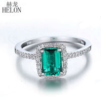 HELON 7x5mm Emerald 1.1ct Treated Emerald Pave 0.2ct Diamonds Solid 14K White Gold Engagement Wedding Ring Women's Fine Jewelry