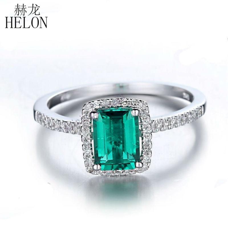Helon 7x5 мм изумруд 1.1ct лечение Изумруд проложить 0.2ct Diamonds Твердые 14 К белого золота Обручение обручальное кольцо для женщин Ювелирные украшени...
