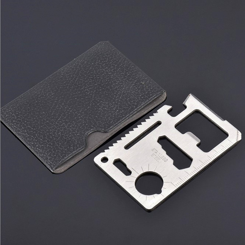 New Multi Tools 11 In 1 Multifunction Outdoor Hunting Survival Camping Pocket Military Credit Card Knife Silver