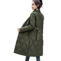 Winter New Down jacket Women Stand collar Coat Waist belt Slim Top White Duck down Fluffy Overcoat Female Fashion Warm Parkas261