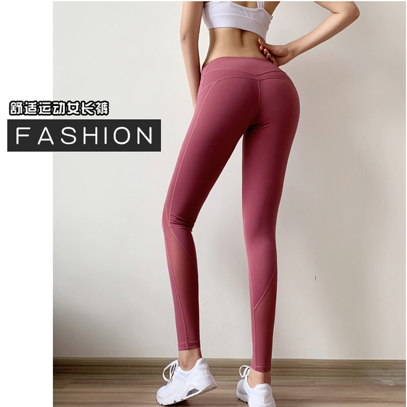 Women Yoga Pants High Waist Running Sportswear Stretchy Fitness Pants Mesh Breathable Slim Tight Trouser Pencil Leggins FH8280 in Yoga Pants from Sports Entertainment