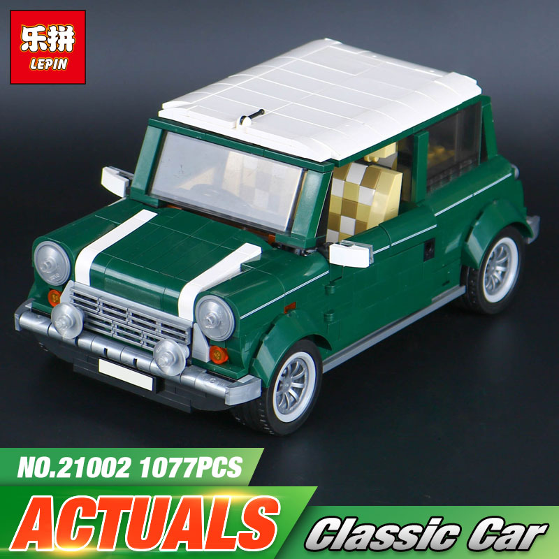 Lepin Genuine 21002 technic series The Green Classic Car Model Building Educational Blocks Bricks Boy Toys Compatible With 10242 free shipping lepin 21002 technic series mini cooper model building kits blocks bricks toys compatible with10242