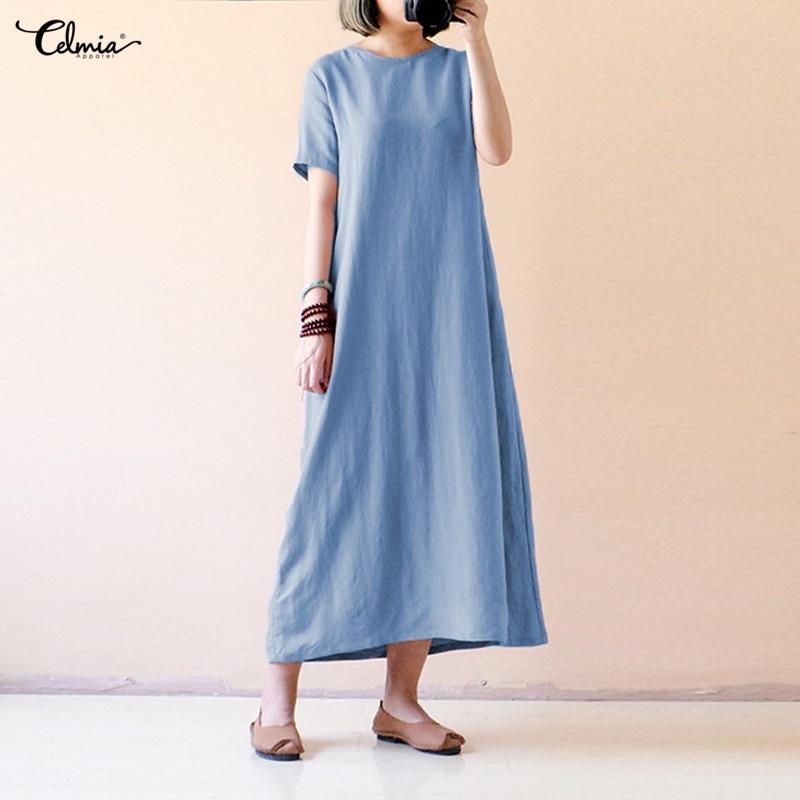 Celmia Plus Size Women Retro Linen Dress 2018 Summer Shirt Dresses Short Sleeve Solid Casual Loose Party Maxi Vestido Robe Femme 1