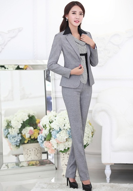 4021c3591fc5a Plus Size 4XL Formal Uniform Design Professional Business Work Suits  Jackets And Pants Ladies Office Trousers Sets Blazers Grey-in Pant Suits  from ...