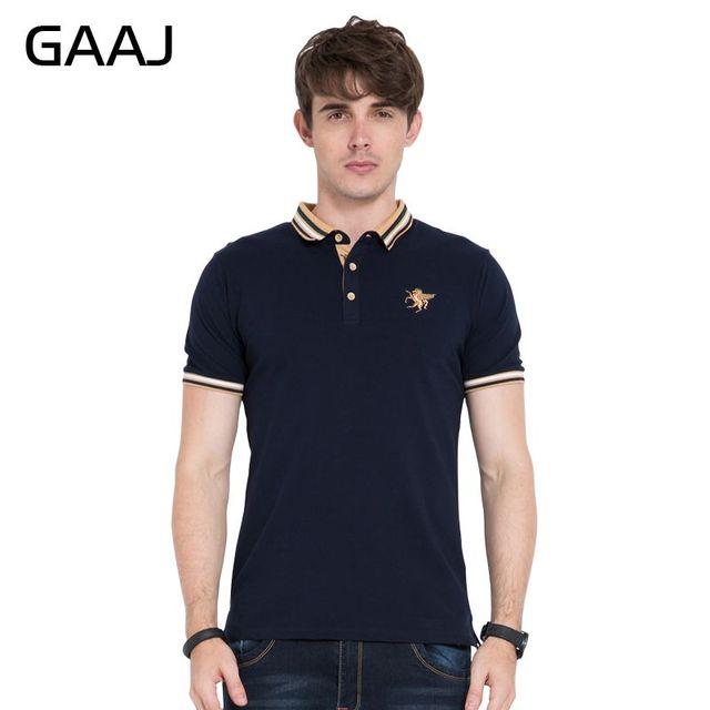 Gaaj Men Polo Embroidery Tops Short Sleeves Poloshirt Brand Clothing