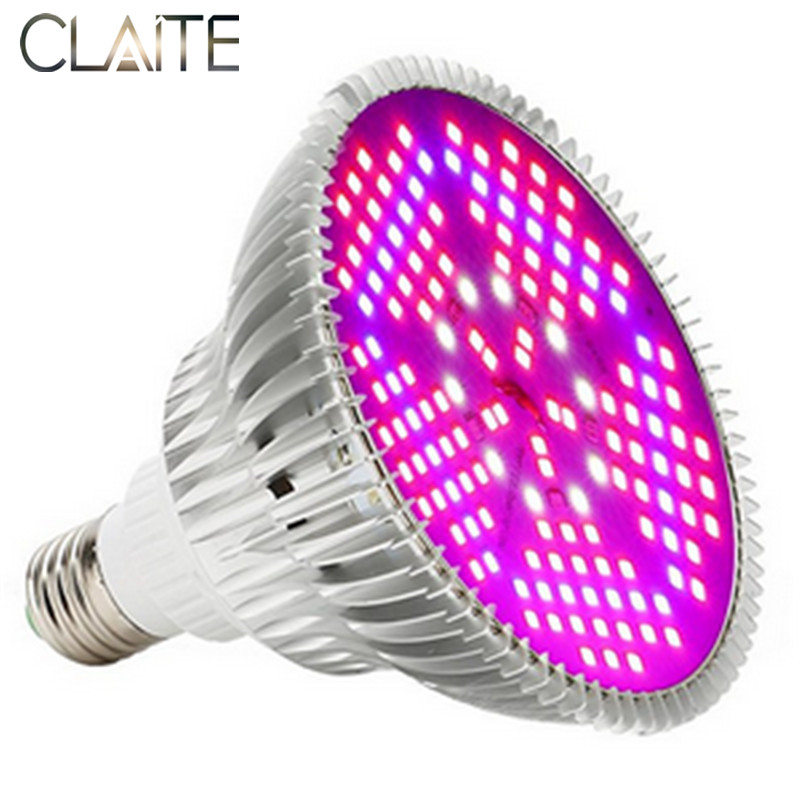 CLAITE 150 LEDs Grow Light Full Spectrum 100W E27 LED Plant Growing Growth LED Lamp Bulb for Indoor Plants Flowers AC85~265V 600w led grow light full spectrum leds plant lighting lamp for plants seedings flowers growing greenhouses 100 6w double chips