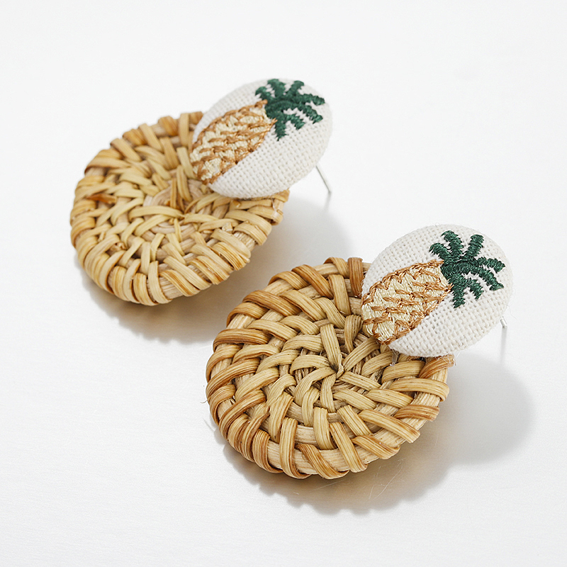 Earrings Jewelry & Accessories Generous Amorcome Rattan Pineapple Drop Earring For Women Straw Weave Fruit Embroidery Earrings Wedding Simple Jewelry Trend Accessories High Standard In Quality And Hygiene