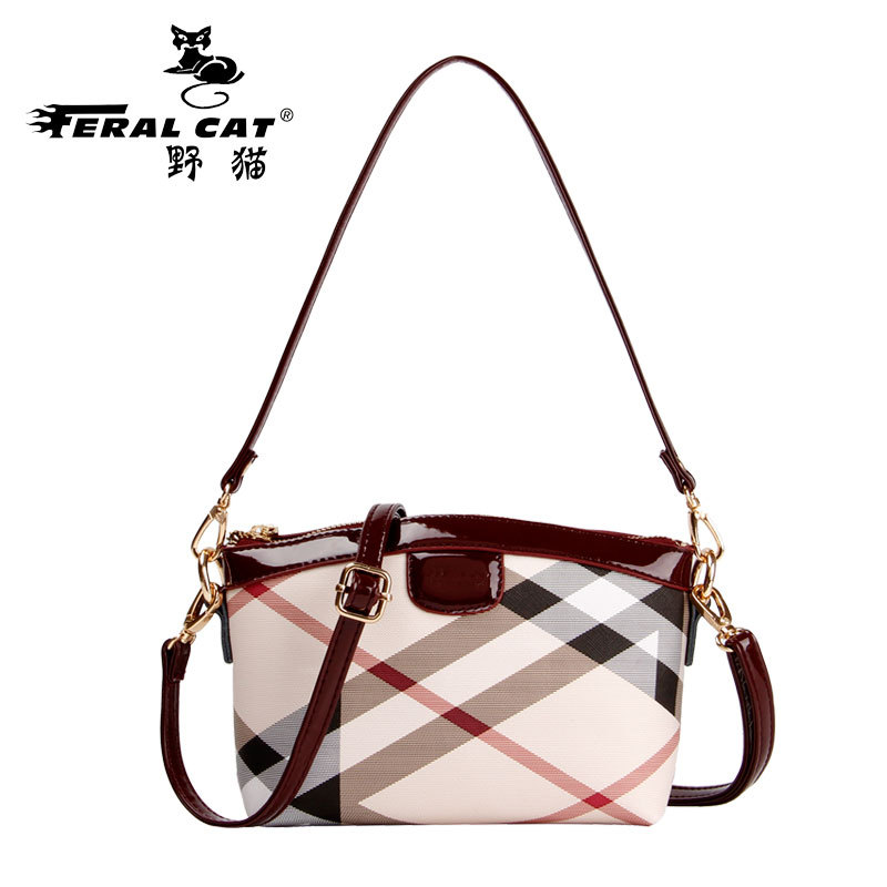 FERAL CAT High Quality Women Shoulder Bags 2017 Vintage PVC Designer Hobos Handbag Ladies Crossbody Bag Culth Zipper Plaid Bolso feral cat high quality women shoulder bags 2017 vintage pvc designer hobos handbag ladies crossbody bag culth zipper plaid bolso