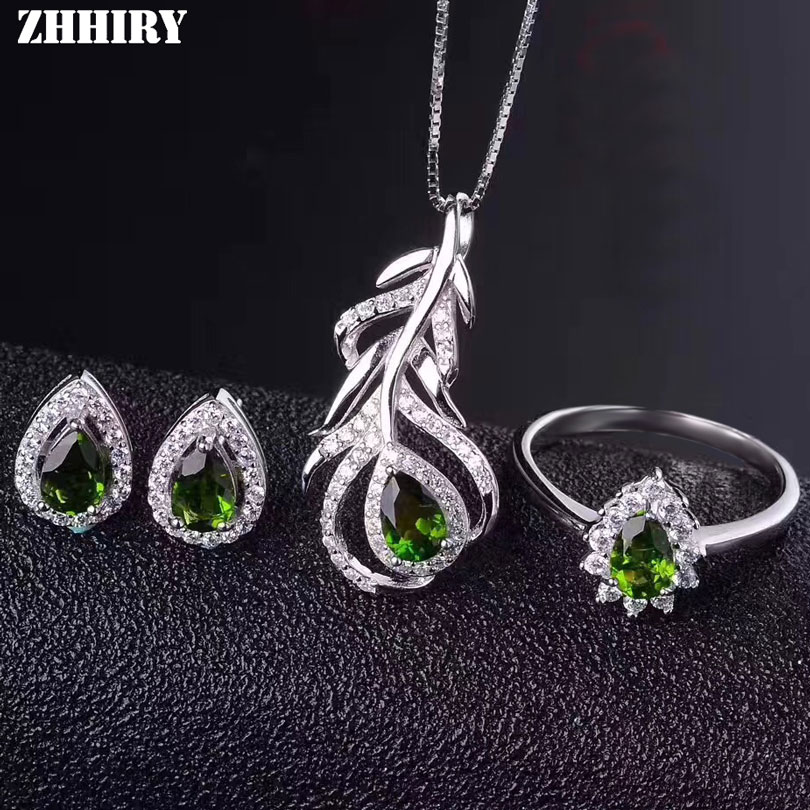 ZHHIRY Women Natural Diopside Gemstone Jewelry Sets Genuine 925 Sterling Silver Set Ring Earring Pendant Chain Fine Jewelry недорого