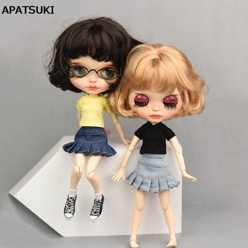 Casual Wear Clothes For Blythe Doll T-shirt Top Jeans Shorts Blue A-line Skirt For Blyth Licca Doll Clothes 1/6 Doll Accessories