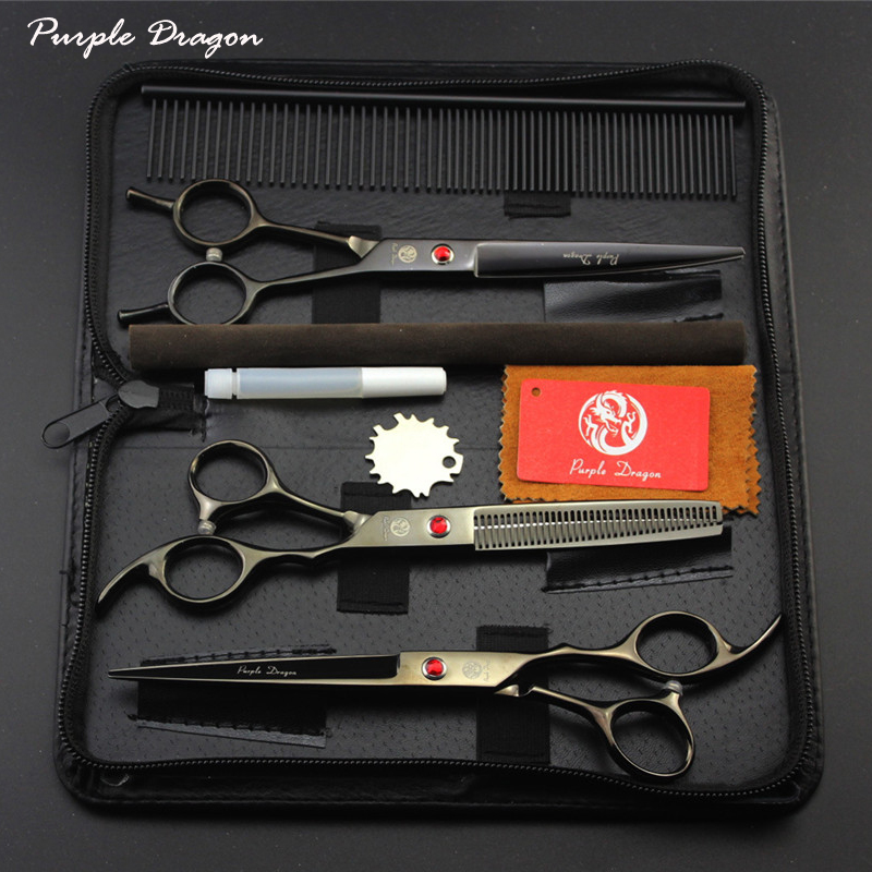 Professional Pet Scissors Pet Grooming Scissors Set 7.0 inch Straight Curved Thinning Dog Hair Cutting Shears
