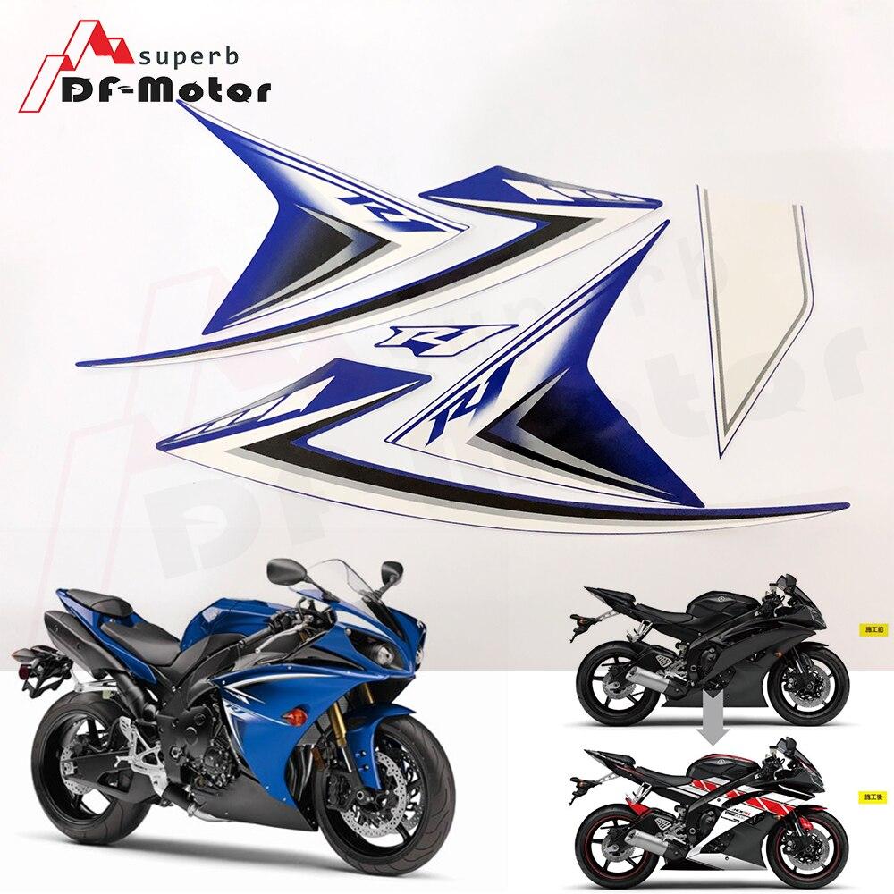Sérigraphie Moto course carénage décalcomanie Moto Moto décalcomanies autocollant pour Yamaha YZF-R1 2009 2010 2011 2012 2013 2014