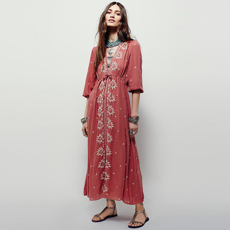 Embroidered Fable Dress Deep V Neck Half Sleeve High Waist Cotton Vestidos Maxi Hippie Holiday Beach Long Dress Party Dress Lady