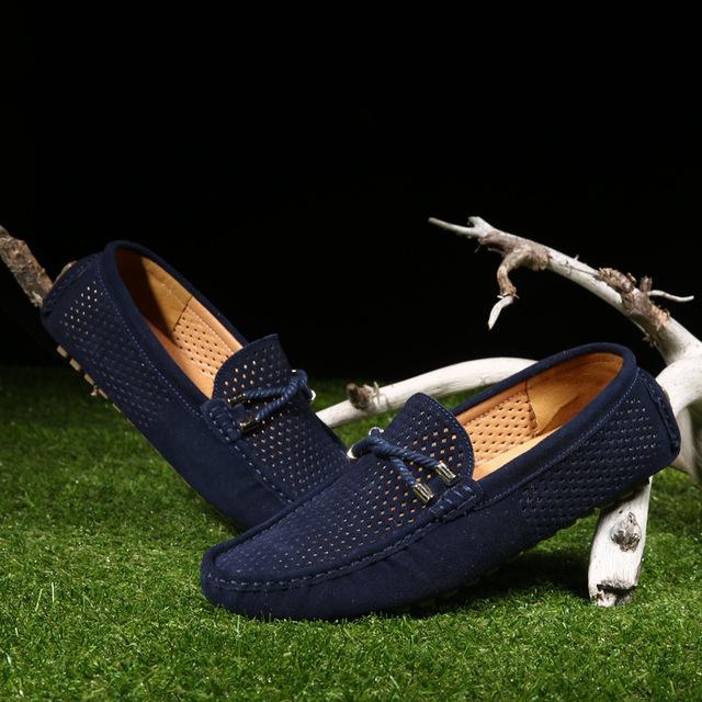 Zapatos de hombre de cuero genuino de verano Zapatos de conducción casuales mocasines suaves transpirables hombres de marca mocasines de gamuza con piel de invierno