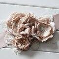 Moda Queimar flor sash belt Casamento sash belt mulheres belt crianças menina Bege