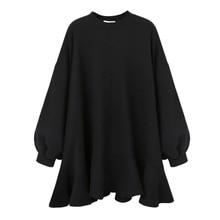 LANMREM 2020 autumn Winter New Fashion Casual Women Short dress Solid Color Wild Loose Plus Ruffled Dress TC109