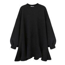 LANMREM 2020 sonbahar kış yeni moda Casual kadın kısa elbise düz renk vahşi gevşek artı Ruffled elbise TC109
