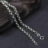 Genuine 925 Sterling Silver Sweater Chains Necklaces For Women And Men Round Shape Beaded Necklace Accessories 18-32 inch