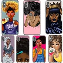 Pelo Natural Afro negro chica rock melanina reina suave funda para iPhone x 6 6S 7 8 Plus 5 5S SE XS MAX XR