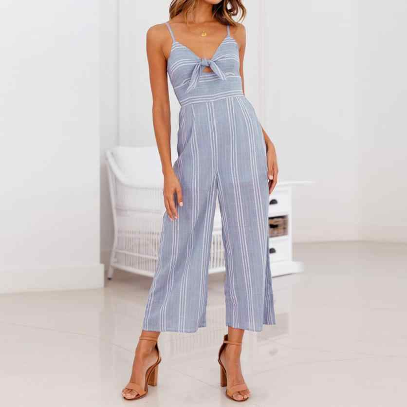 cf8c3054897 jumpsuit summer 2018 Boho rompers womens jumpsuits romper Stripe Strappy  Holiday Playsuit Trousers Casual Beach Jumpsuit