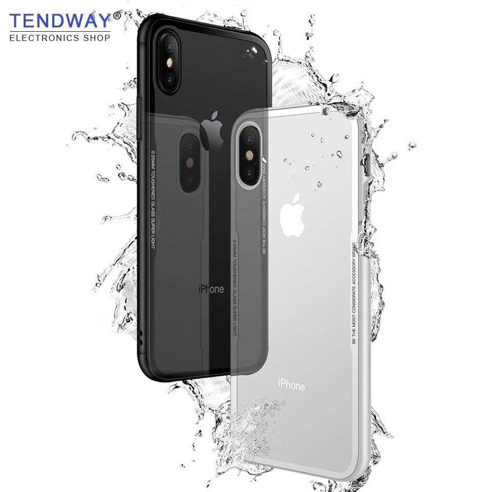 Tendway casos de telefone transparente para iphone 7 8 x vidro claro caso capa para iphone 5 6 protetor acessórios do telefone móvel 2020