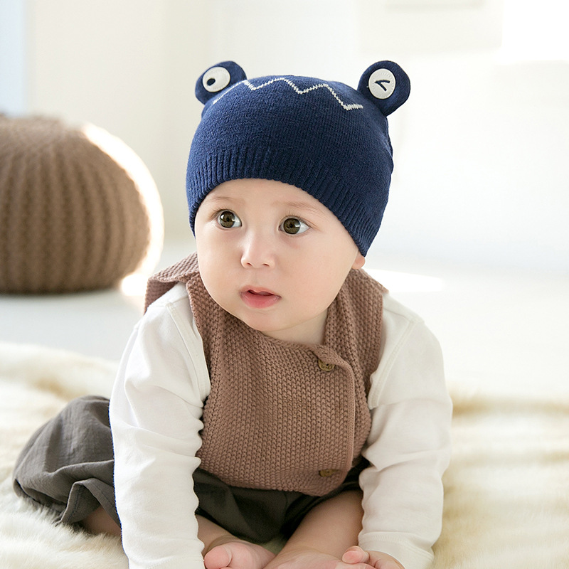 Baby girl boy winter hat baby soft warm beanie hat crochet stretch knit hat children leisure warm hat cartoon frog  beanie(China)