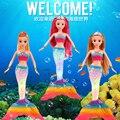 В 3d Глаза 36 см Высокие Электронные Музыкальные Русалка Костюм Куклы Куклы Дети Девушки День Рождения Toys Cartoon Куклы Высокое Качество