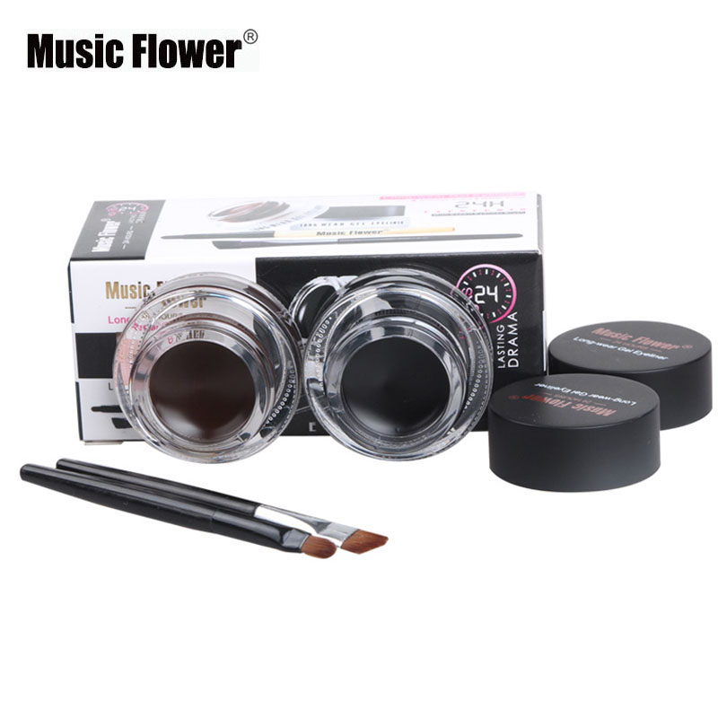 Music Flower Brand 2pcs / set Sort Vandtæt Eyeliner Gel Makeup Kosmetisk Gel Eye Liner Med Børste 24 timer Langvarig