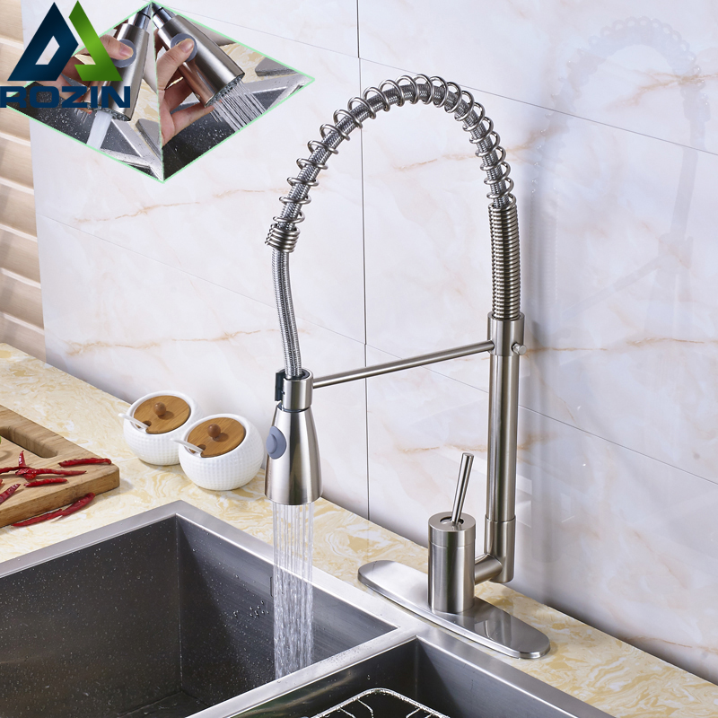 Luxury Brushed Nickel Pull Down Spring Kitchen Mixer Tap Swivel Spout Single Lever Hot and Cold Kitchen Water Tap luxury brushed nickel pull down swivel spout kitchen mixer tap single lever spring kitchen sink washing taps