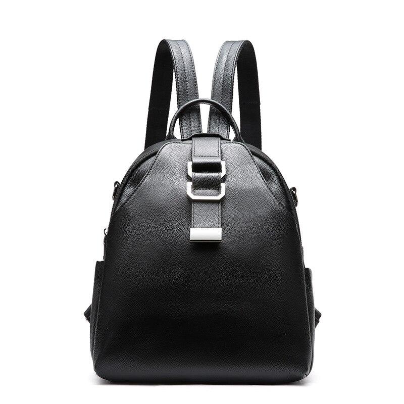 Mode femmes sac à dos de haute qualité en cuir véritable sacs à dos litchi modèle dames sacs à dos décontracté sac à dos noir femme