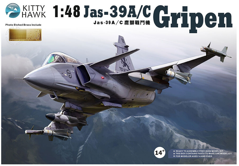 Kitty hawk KH80117 1/48 Jas-39A/C Gripen plastic model kit tong ren tang 12 3